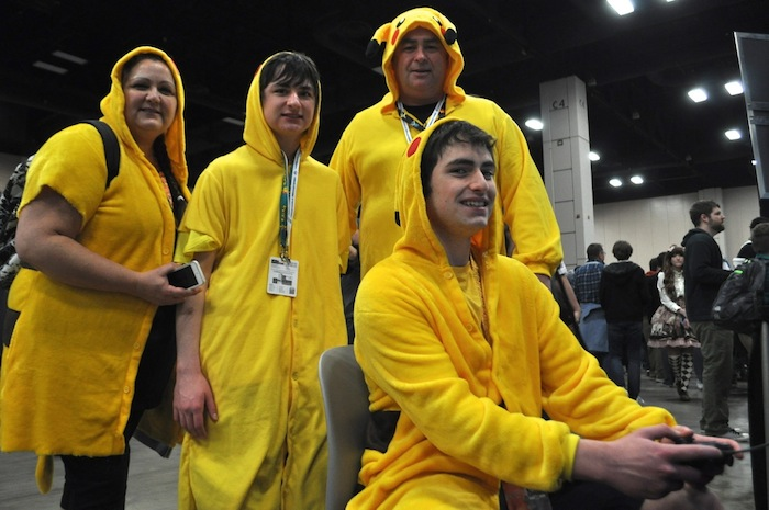 A family of Pikachus, from the popular Pokemon game and cartoon, during PAX South. Photo by Iris Dimmick.