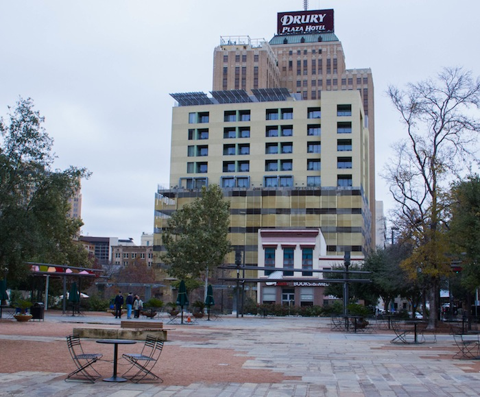 East side of Main Plaza. The site of the Council House Fight is the two-story white building in the middle of the block. Photo by Mike Patterson.