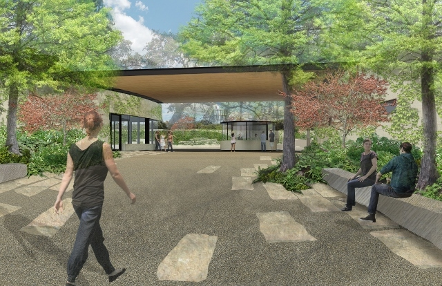Rendering of the courtyard expansion of the San Antonio Botanical Garden.