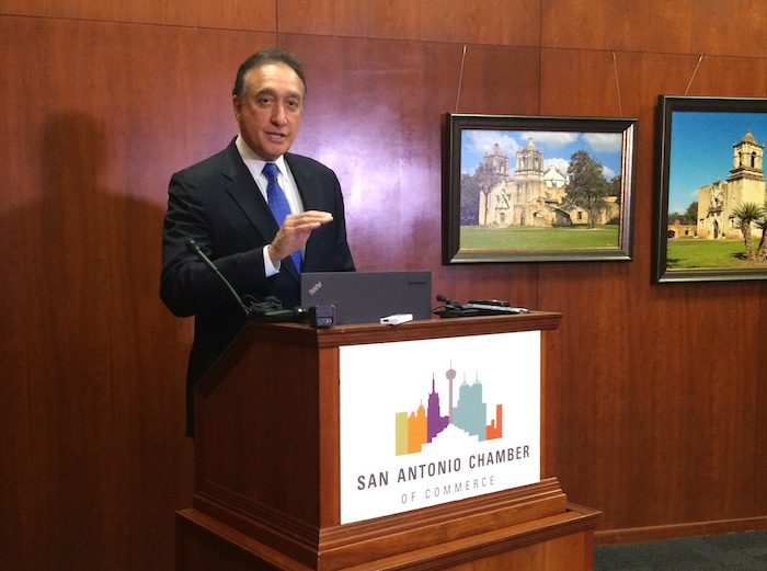 SA Chamber of Commerce Chairman Henry Cisneros spoke to reporters Monday afternoon about continuing police and fire union negotiations. Photo by Katherine Nickas.
