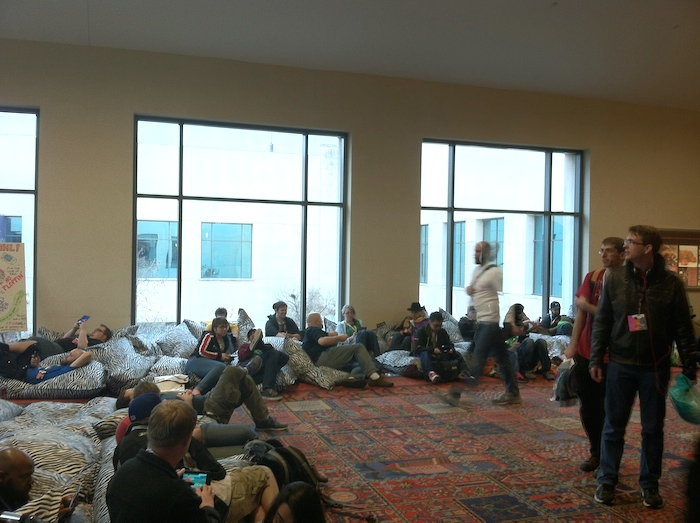 The Handheld Lounge on the Convention Center's second floor. For PAX attendees who list comfort as their top priority, this is the go-to spot for games. Photo by Samuel Jensen.