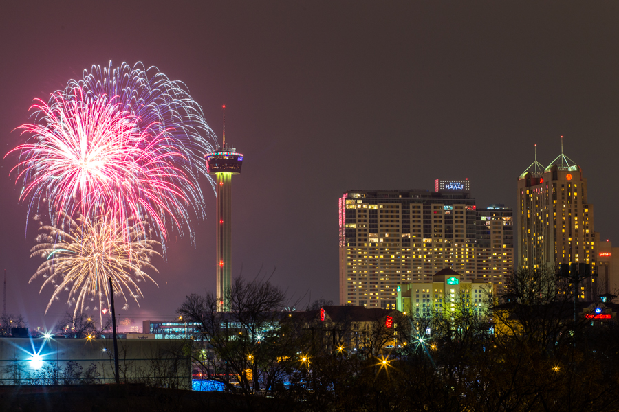 New Years Eve fireworks over downtown San Antonio on Jan1, 2016.