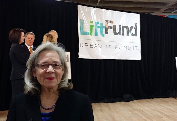 LiftFund President and CEO Janie Barrera at the nonprofit microlending company's rebrand launch. Photo by Iris Dimmick.