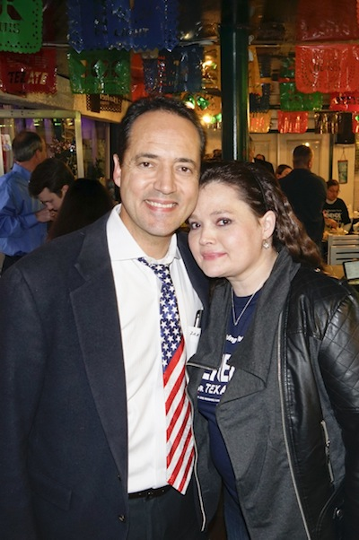 José Menéndez stands with his wife, Cehlia Newman-Menéndez at his election watch party. Photo by Al Rendon.