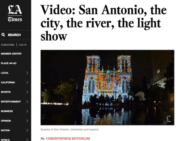Click the screenshot of www.latimes.com to read the article and watch the video. http://www.latimes.com/travel/deals/la-trb-san-antonio-city-river-light-show-20141230-story.html