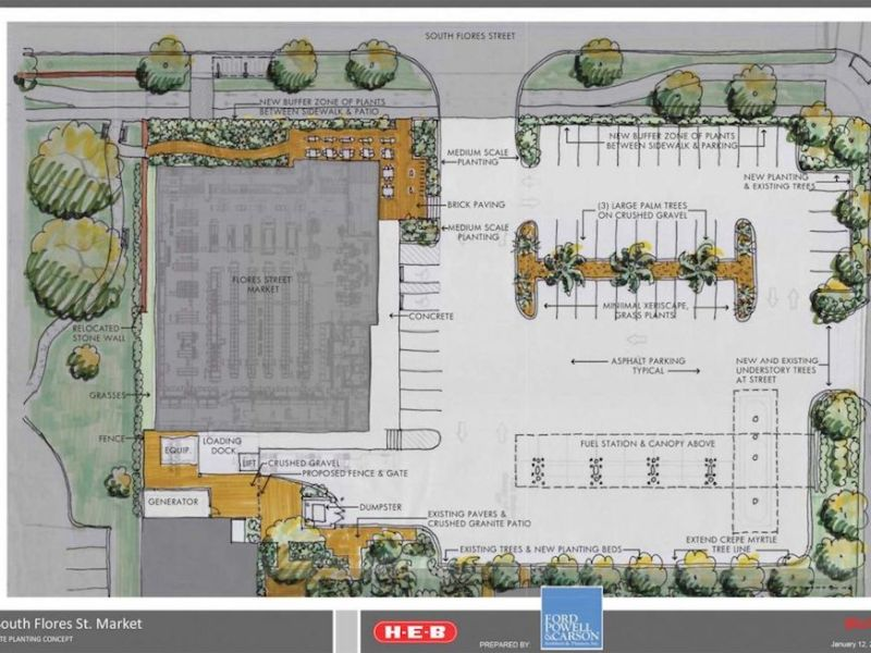 Landscaping and site plan for Flores Market. Rendering courtesy of H-E-B.