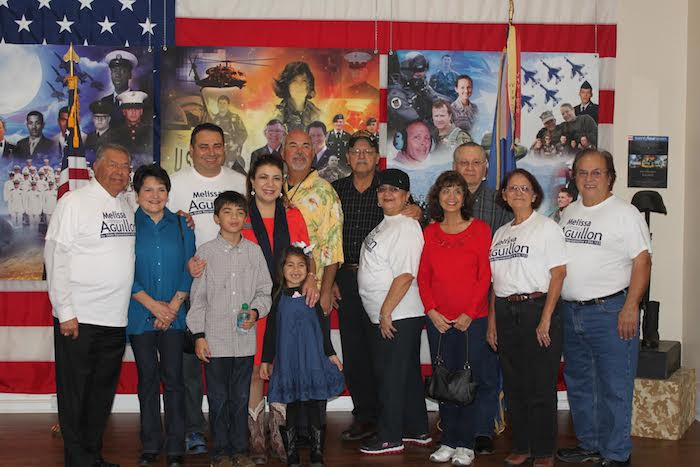 Texas House District 123 candidate Melissa Aguillon stands with family and friends at the VFW. Courtesy photo.