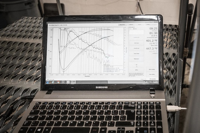 The roasting process at Merit Roasting Co. is closely monitored and graphed electronically. Photo by Scott Martin.