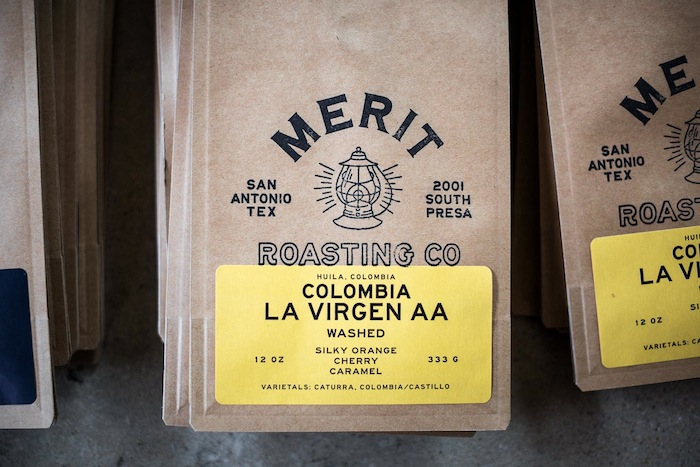 Merit Roasting Co. beans come in a craft bag that's stamped by hand. Photo by Scott Martin.