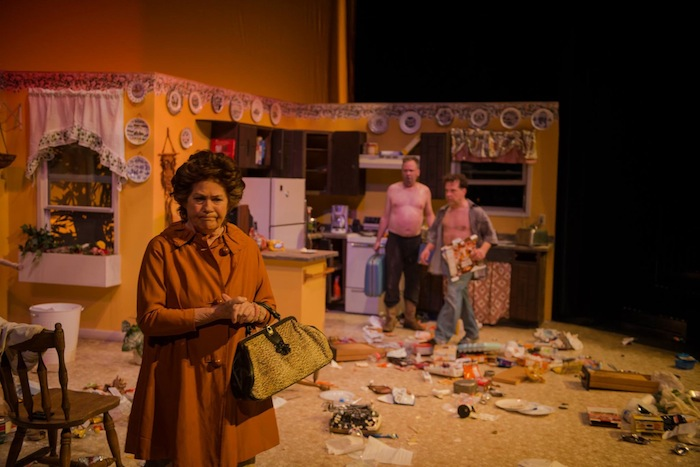 """In AtticRep's production of """"True West"""" Mom (Rita Crosby) is disgusted with the antics of her sons and utters a truism of the """"True West"""" - """"You'll have to stop fighting in the house… You've got the whole outdoors to fight in."""" Courtesy photo by Siggi Ragnar."""