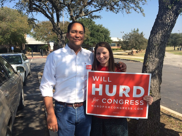 Rachel Holland poses for a photo with Will Hurd during his campaign for Congress. Courtesy photo.