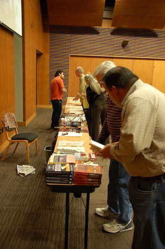 Books by Turkish interfaith advocate and activist Fetullah Gulen are sold after the Whirling Dervishes' show. Photo by Rene Jaime Gonzalez.