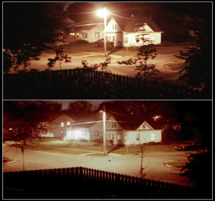 This street switched to LED streetlights (bottom) from high-pressure sodium bulbs (top). Photo courtesy of McDonald Observatory.