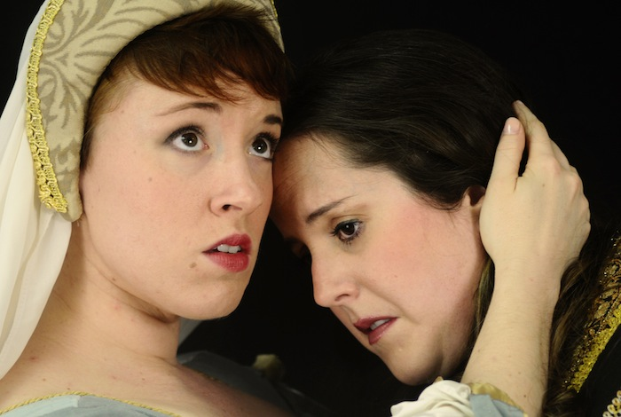 """Rainelle Kraus (left) plays Belinda with Jacquelyn Matava (right) as Dido in the production of """"Dido and Aeneas"""" by Opera Piccola of San Antonio at the Charline McCombs Empire Theatre on Feb. 21-22. Photo by Kristian Jaime."""