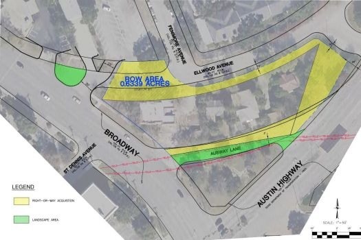 This map denotes in yellow and green the public parcels and right-of-way that Broadway-Ellwood Co. seeks to acquire for a proposed mixed-use midrise, which Argyle Residential would build. The center swath of land between Ellwood, Broadway and Austin Highway is owned by Broadway-Ellwood. Courtesy image.