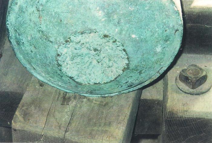 Pre-restoration photo shows where the cannon's cascabel was broken off. Photo provided by Dr. Gregg J. Dimmick.