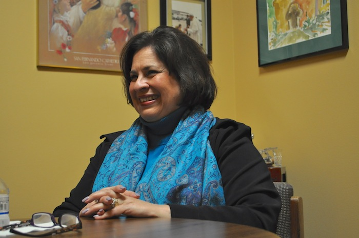 Leticia Van de Putte smiles during an interview at her headquarters. Photo by Iris Dimmick.
