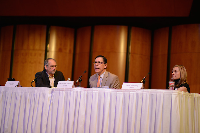 (From left) Jow Flower, Paul Hughes-Cromwick, and Jamie Dudensing speak on a panel during Trinity University's REACH Symposium. Photo courtesy Parish Photography.