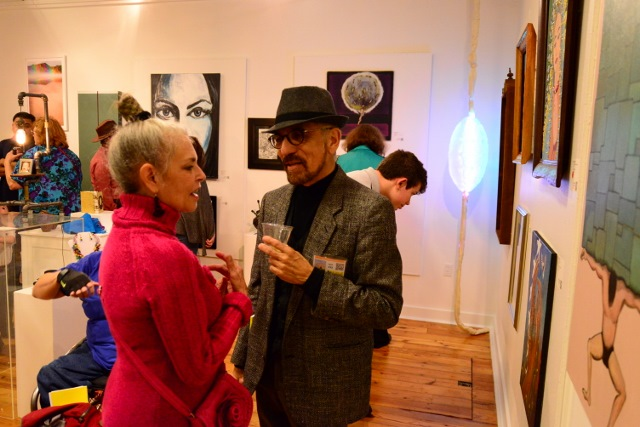Participating artists Kathleen Trenchard and Richard Arredondo at the opening party. Photo by Page Graham.