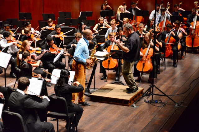 YOSA rehearses with Branford Marsalis. Photo by Page Graham.