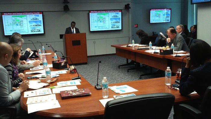 Mike Etienne, director of EastPoint/Promise Zone briefs Mayor Ivy Taylor and the City Council on the positive impacts that various reinvestment efforts have made so far in San Antonio's Eastside. Photo by Edmond Ortiz.
