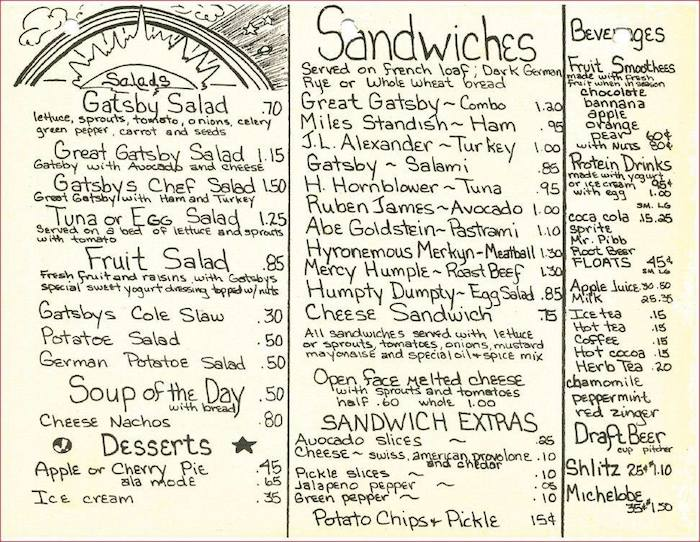 Great Gatsby's Menu prices: $1.50 for a pitcher of beer! $1.30 for a roast beef sandwich! Two students could have a feast for less than five bucks! Image from the collection of Don Mathis.