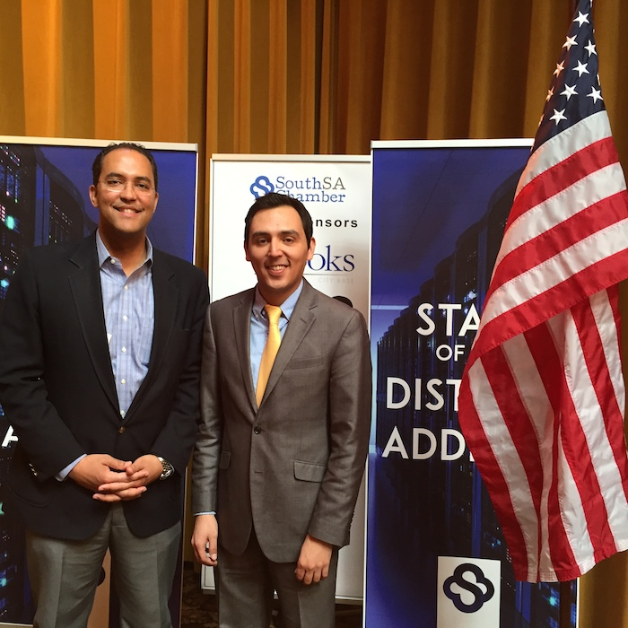 U.S. Rep. Will Hurd stands with Al Arreola, Jr., SouthSA Chamber President and CEO. Photo by Robert Rivard.
