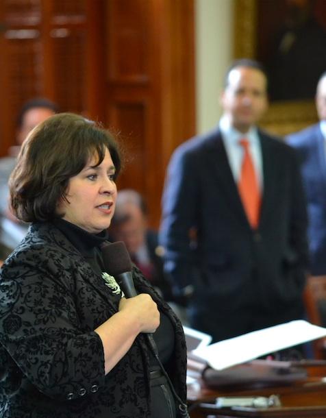 Outgoing Sen. Leticia Van de Putte gives her farewell speech to the Texas Senate. Courtesy photo.