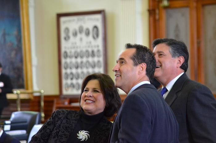 Outgoing Sen. Leticia Van de Putte stands with Sen-elect José Menéndez and Rep. Richard Raymond after her farewell speech to the Texas Senate. Courtesy photo.