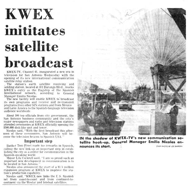 Newspaper article about 1976 satellite dedication. Image courtesy sintv.org.