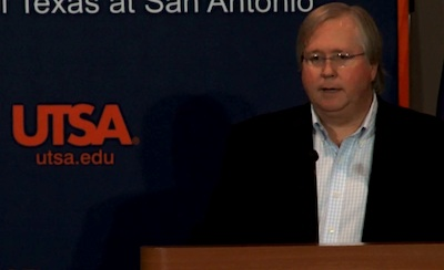 Graham Weston, founder of the 80/20 Foundation and chairman and co-founder of Rackspace, speaks at the official launch of the Open Cloud Initiative  at UTSA. Courtesy image via a UTSA recording of the event.