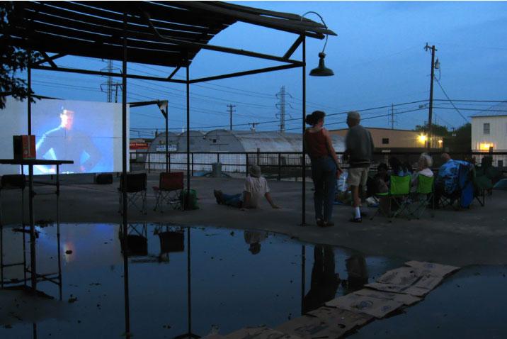 The original Slab Cinema, located in the La Tuna Ice House parking lot circa 2005. Courtesy photo.