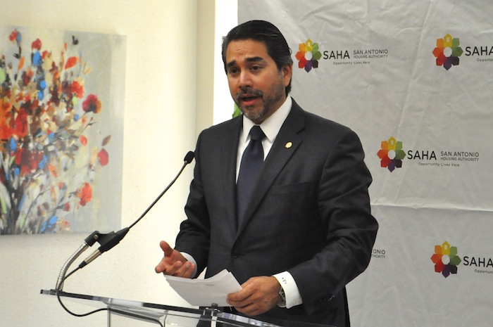 District 1 Councilmember Roberto Treviño speaks at the grand opening of SAHA's Lofts at Marie McGuire. Photo by Iris Dimmick.