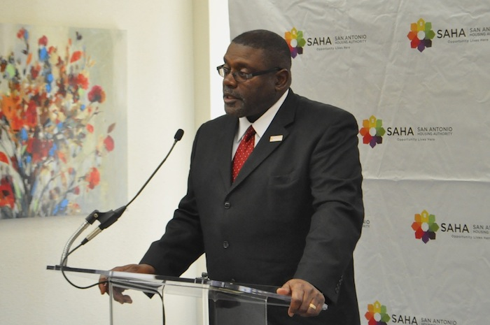 Morris Stribling, chair of SAHA's Board of Commissioners, speaks at the grand opening of SAHA's Lofts at Marie McGuire. Photo by Iris Dimmick.