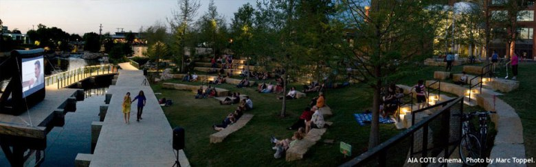 The Pearl Amphitheater with built-in seating makes a beautiful backdrop for an outdoor film. Photo by Marc Toppel.