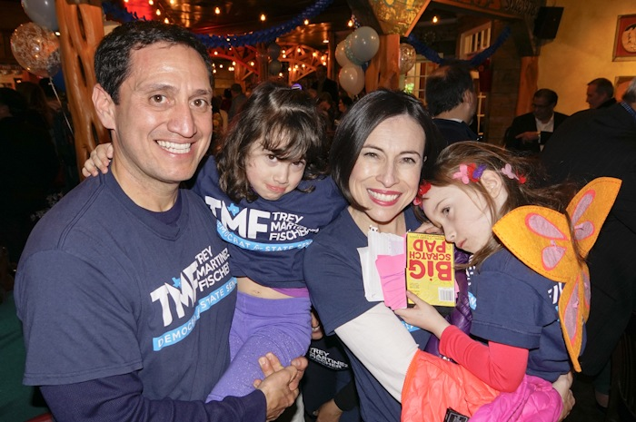 Rep. Trey Martinez Fischer at his election watch party with his daughters Camilla, 4, and Francesca, 5, and wife Elizabeth Provencio. Photo by Al Rendon.