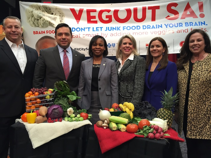 Team VegOutSA! (From left) Jeff Skelton, Mayor's Fitness Council (MFC) member and Humana executive; Dr. López, MFC member and area president, Blue Cross Blue Shield Texas; Mayor Ivy Taylor; Kate Rogers, MFC chair and VP, H-E-B; Jennifer Herriott, assistant director, Metro Health; and Mary Ullmann Japhet, MFC past chair and SVP, San Antonio Sports. Photo by Robert Rivard.