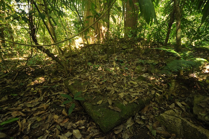 A photo of the structure that resembled an alter stone. Photo by Everett Redus.