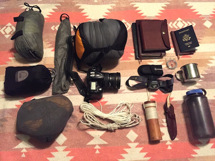 *Featured/top image: I've packed extremely light for my trip to Patagonia: two changes of clothes, rainshell jacket, down sleeping bag, bivy tent, headlamp, camp mug, water bottle, hiking shoes, sandals, toiletries, camera, journal(s), knife, ball cap and, of course, the ashes of my brother Cameron Redus. Photo by Everett Redus.