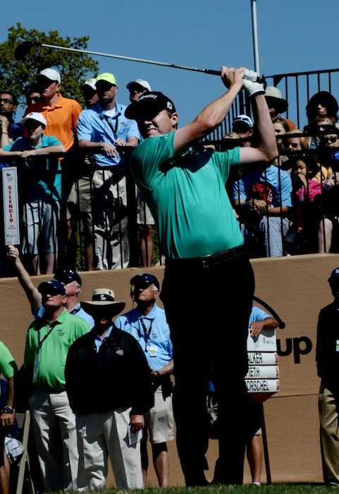 2015 Valero Texas Open champion Jimmy Walker tees off during the final round at the JW Marriott TPC San Antonio. Photo by Kristian Jaime.