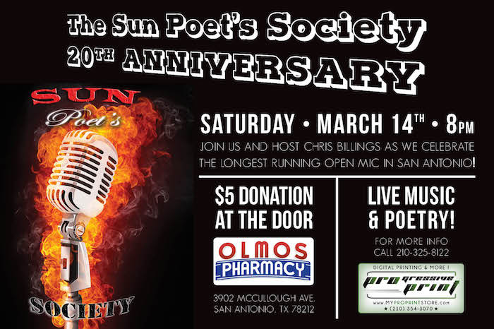 All poets and friends of the spoken word are invited to the 20th anniversary party of the longest running weekly open mic poetry venue in San Antonio.