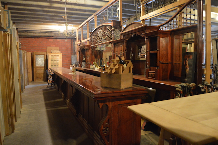 Antique bar found in the warehouse of Architectural Antiques. Photo by Angel Lopez.