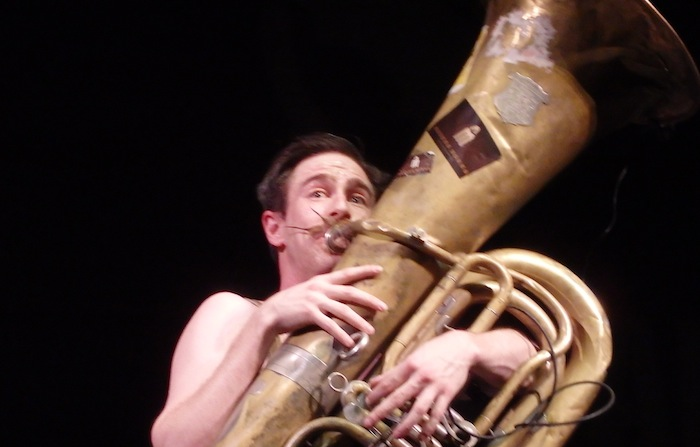 The tuba player of the Bolzen Beer Band got the night off to an energetic start. Photo by Miles Terracina.