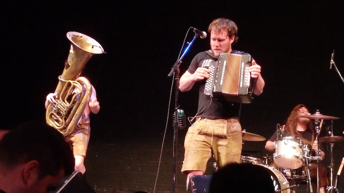 Bolzen Beer Band lead singer played an accordion like a punk rock guitarist. Photo by Miles Terracina.