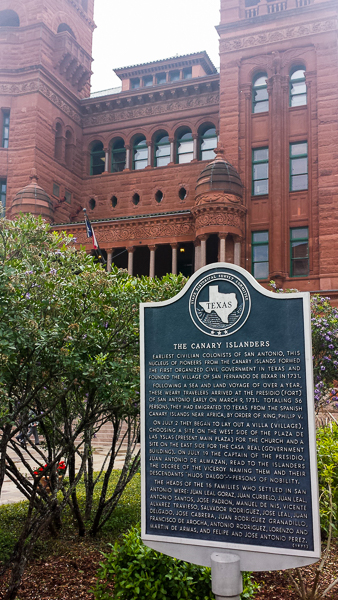 Texas historical marker in front of the Court House describing the first civilizations in San Antonio from The Canary Islands. Courtesy photo.