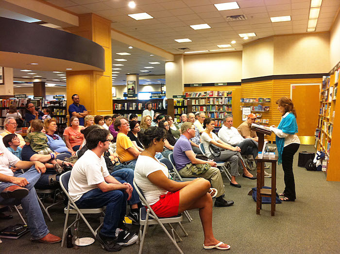 Local poet Carmen Tafolla was the first Poet Laureate of San Antonio. She gave a reading to the Sun Poet's Society at Barnes & Noble Bookstore soon after her inauguration in 2012. Photo by Rod Stryker.