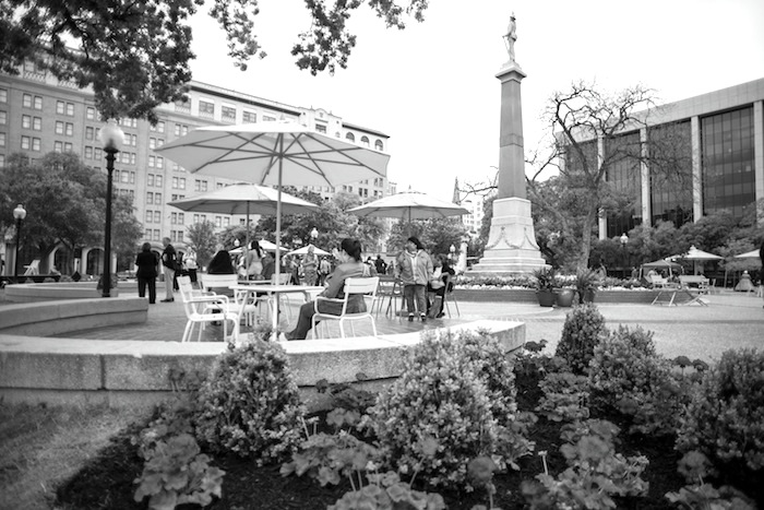 San Antonio enjoys the newly renovated Travis Park during its grand reopening March 31, 2014. Photo by David Rangel.
