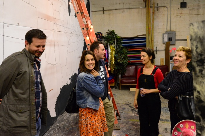 Callie Enlow and Ben Judson visit the studio of Jimmy James Canales and Megan Elizabeth Harrison. Photo by Page Graham.