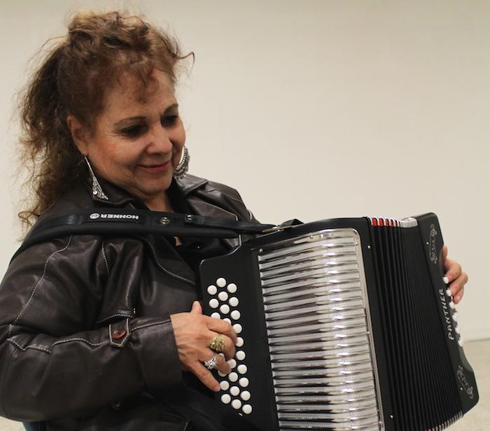 "Eva Ybarra rehearses ""A Mi San Antonio"" at the Guadalupe Cultural Arts Center, preparing for a tribute performance in her honor.Photo by Amanda Lozano."