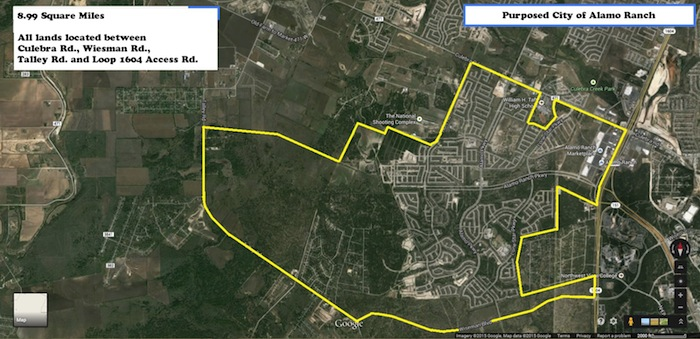 Proposed boundaries of the City of Alamo Ranch by Richard Cash.